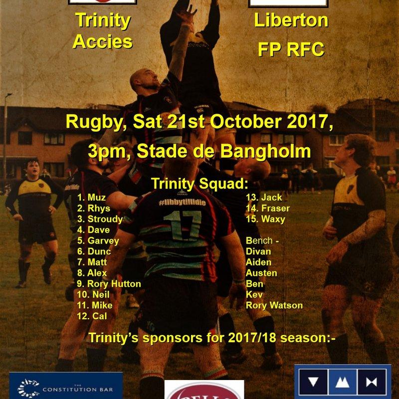 Next match Trinity v Liberton, 3pm Bangholm 21-10-17