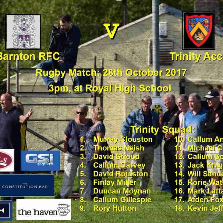 Barnton v Trinity Accies, Sat 28th Oct - 3pm at RHS pitches