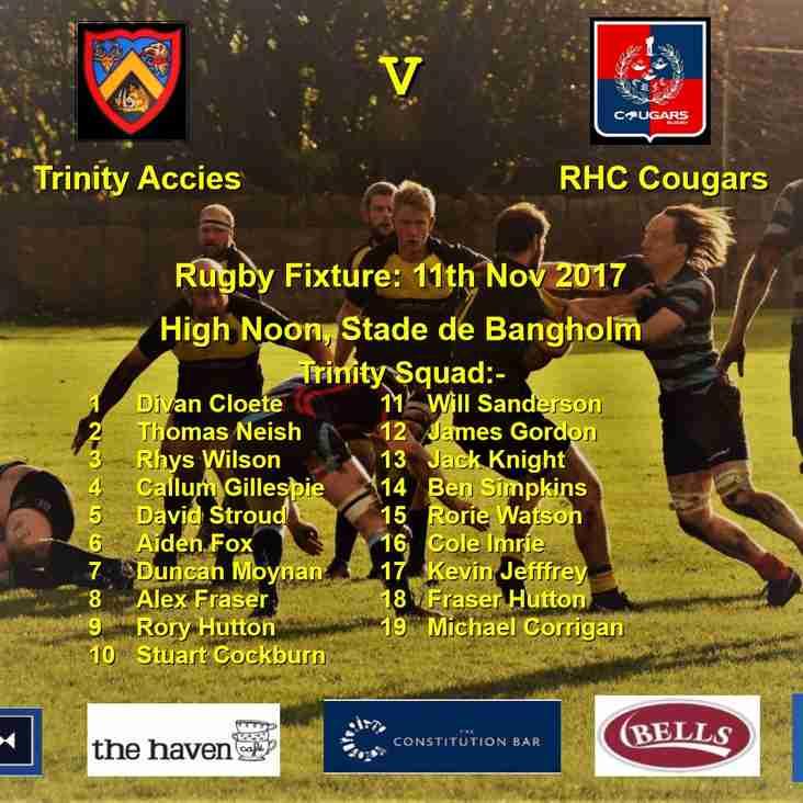 Next match: BT Shield, Trinity Accies v RHC Cougars, 12 noon 11/11/17