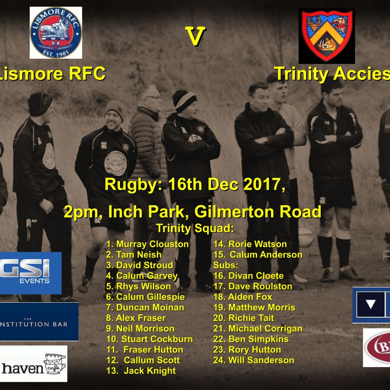 Next match: Lismore v Trinity   2pm 16-12-17 at Inch park