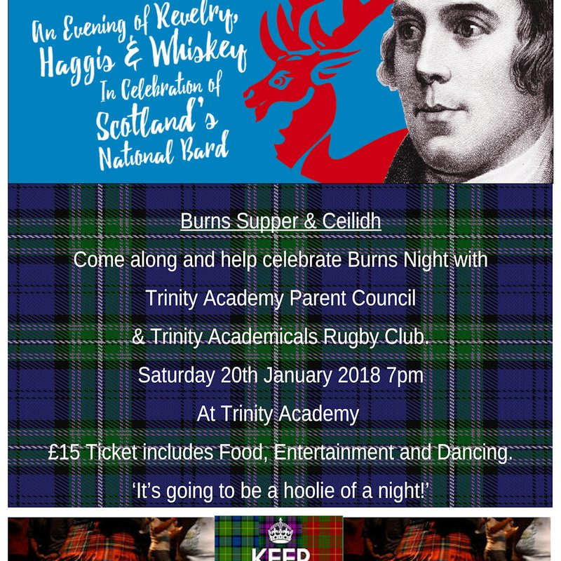 Trinity Academy Parent Council & Trinity Academicals Rugby Club Burns Supper on Saturday 20 January, 7:00pm – 12:00