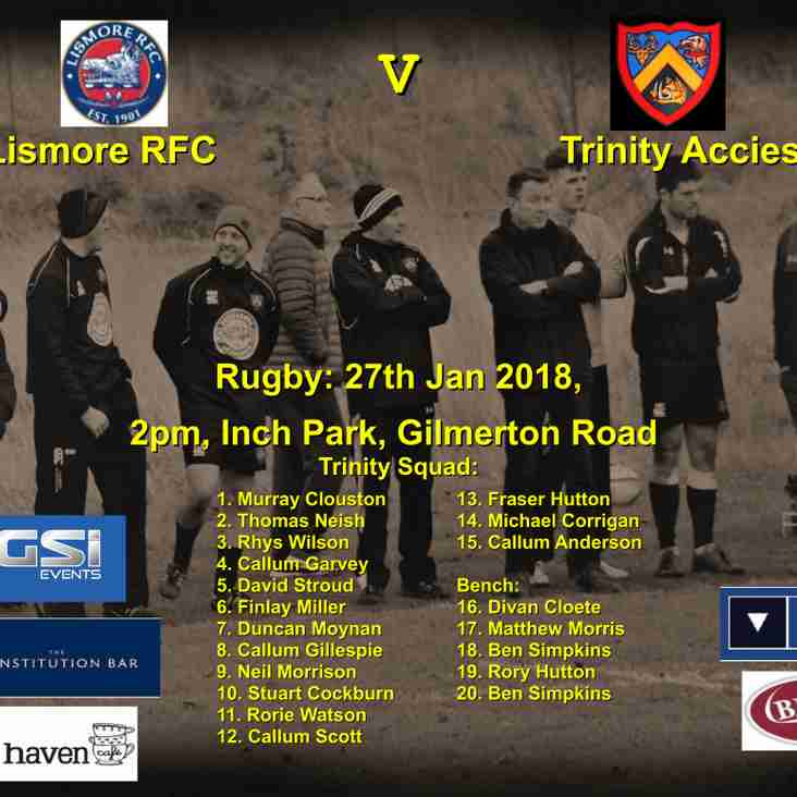 Next match LismoreRFC v Trinity Accies. 2pm Saturday 27th.