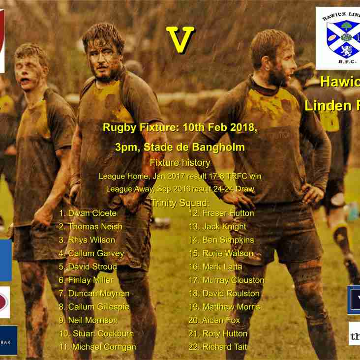 Next match: Trinity v Hawick Linden 10-02-18 3pm kick-off