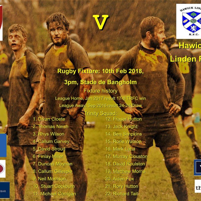 Next match: Trinity v Hawick Linden 10-02-18 3pm kick-off