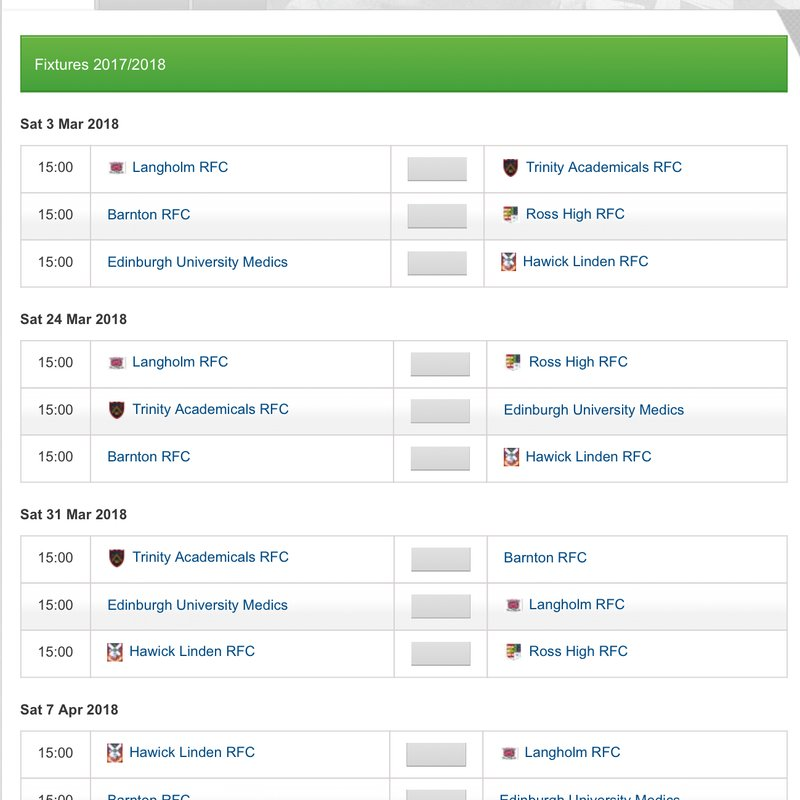 Remaining fixtures for BT East League Division 2 Top 6