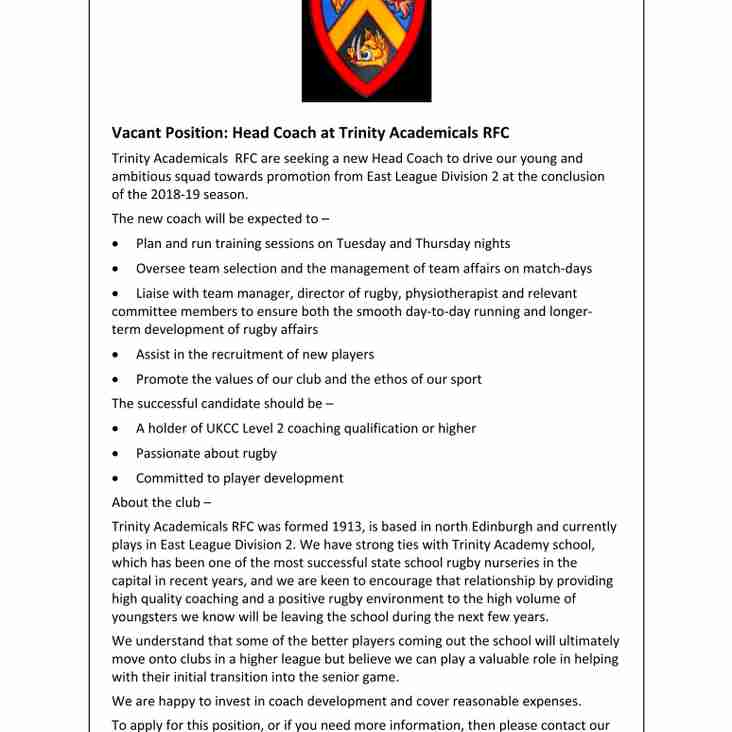 Vacant Position, Head Coach at Trinity Accies RFC: 2018