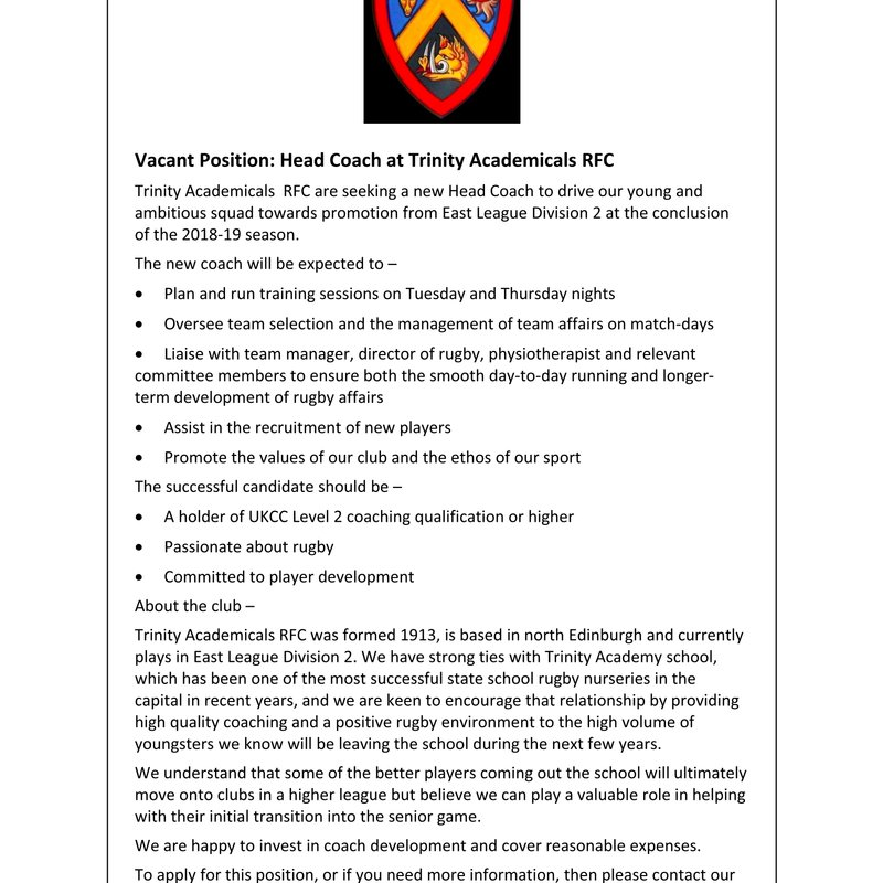 Vacant Position, Head Coach at Trinity Accies RFC: 2018