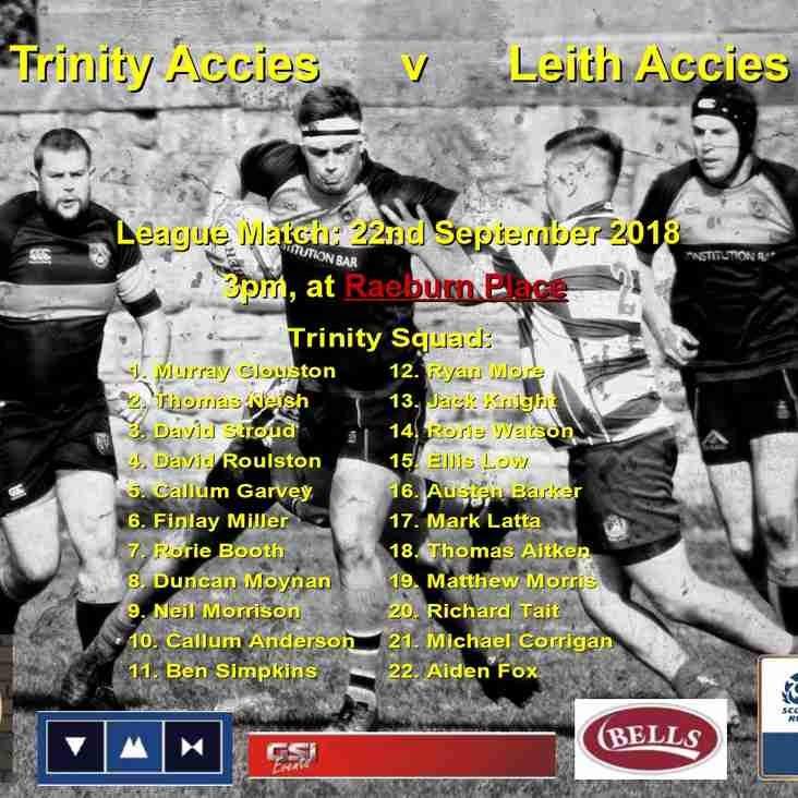 Trinity Accies v Leith RFC to be played at RAEBURN PLACE 3pm 22/09/18