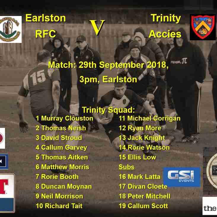 Next match: Earlston RFC v Trinity Accies  3pm Sat 29-09-18