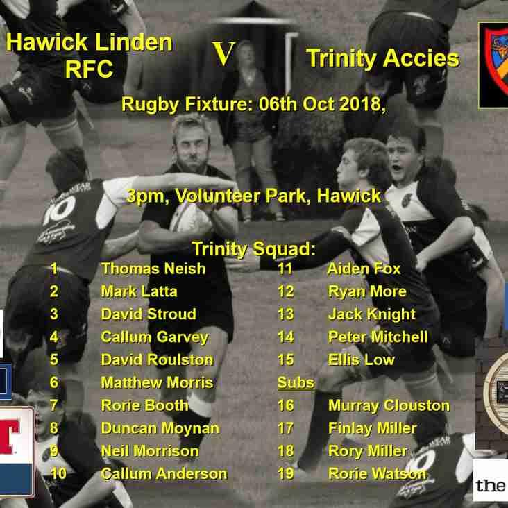 Next game notice  Hawick Linden RFC v Trinity Accies  06-10-18