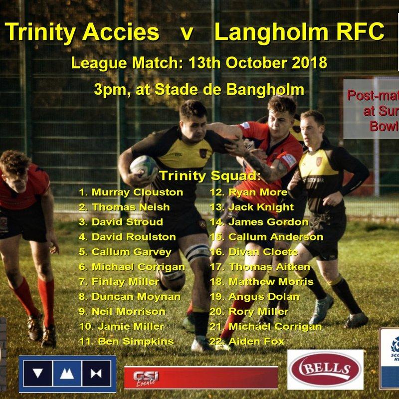 Nevt match: Trinity Accies   v   Langholm RFC