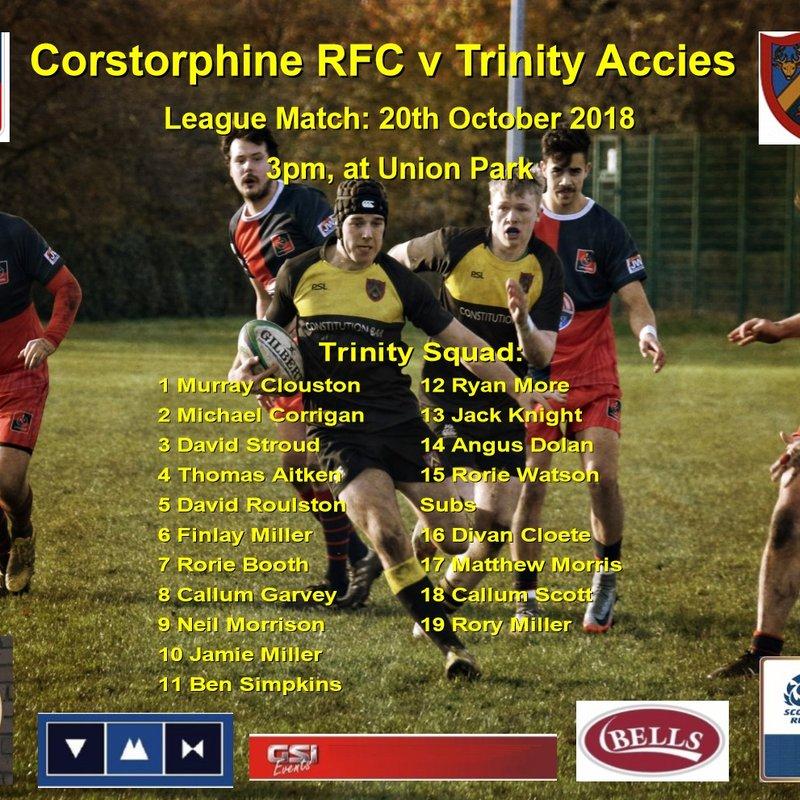 Next Match: Corstorphine RFC v Trinity   20-10-18