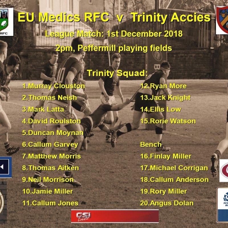 Next match: EU Medics v Trinity Accies