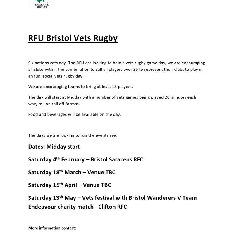 RFU Bristol Vets Rugby