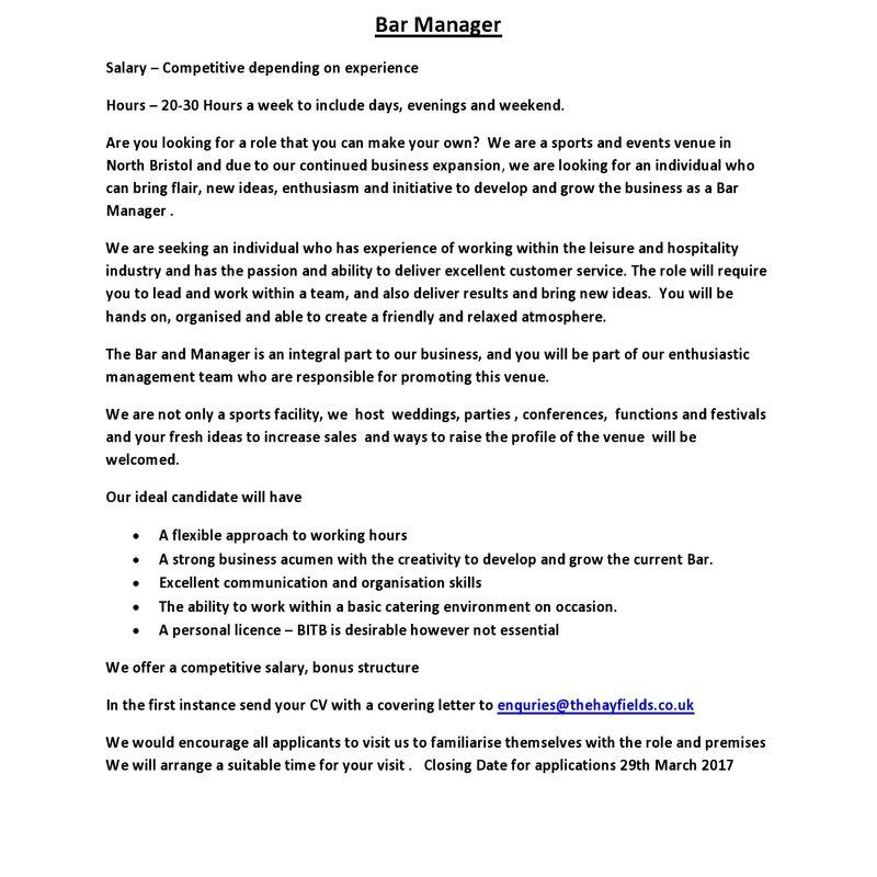 Job Vacancy - Bar Manager