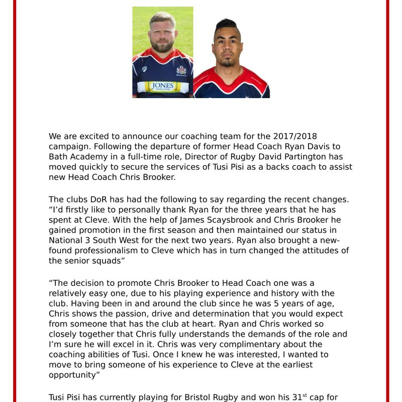 Cleve Announce New Coaching Team