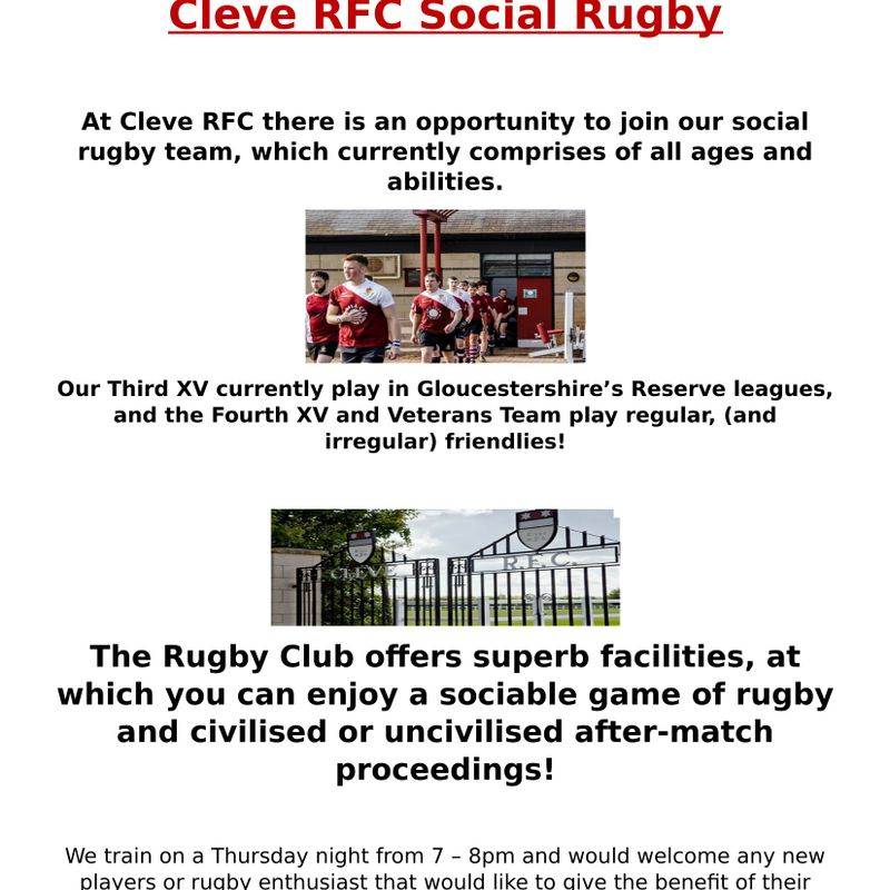 Social rugby opportunity