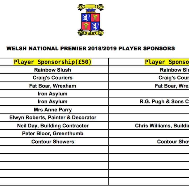 Player Sponsors