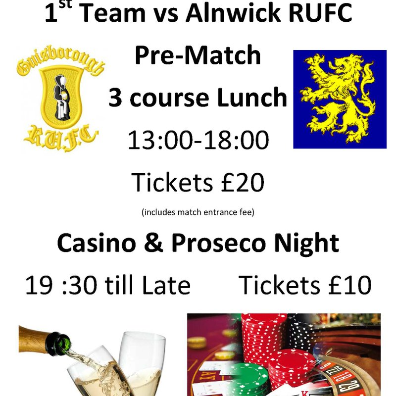 Guis v Alnwick, 3 couse lunch/ Proseco Night 22nd April
