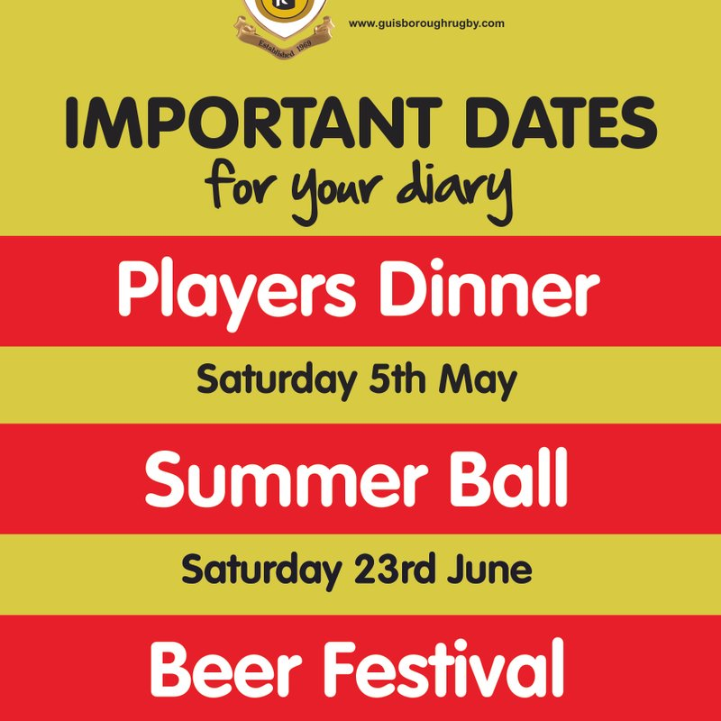 2018 -  Dates for your Diary