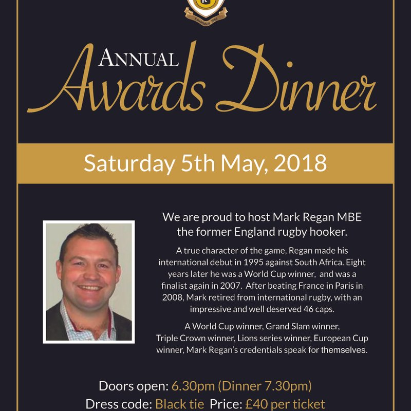 Annual Awards Dinner , Sat 5th May 2018 - TICKETS UPDATE
