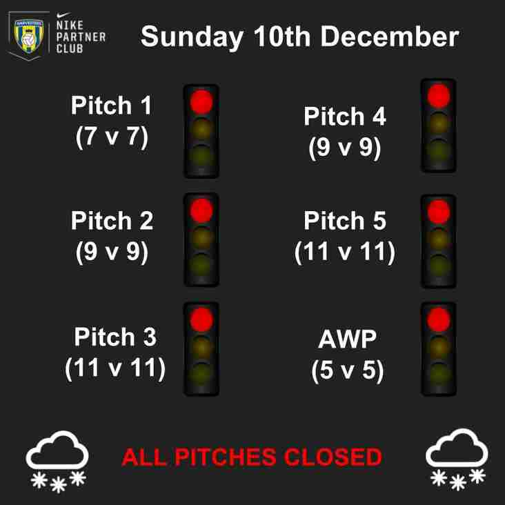 All Pitches Closed following Overnight Snow