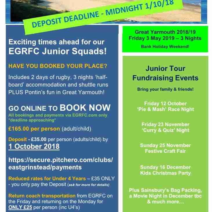 EGRFC Junior Tour - Great Yarmouth 2018/19