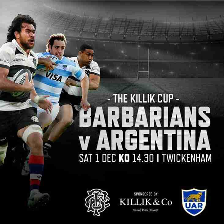 2 for 1 Club Ticket Offer   Barbarians v Argentina at Twickenham