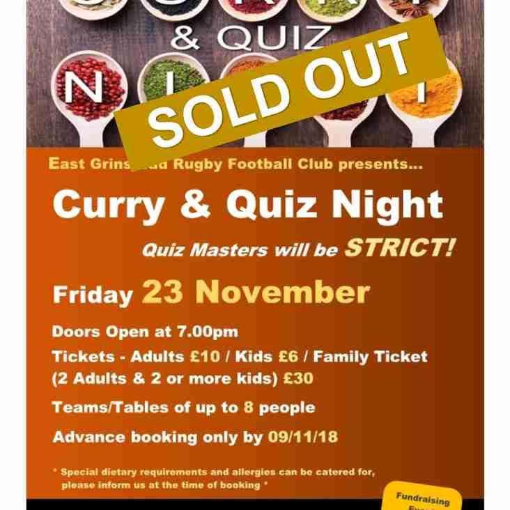 Curry & Quiz Night - Friday 23 November 2018