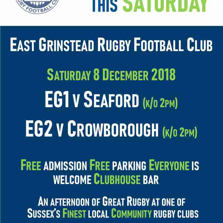 Great LIVE Rugby @ EGRFC this Saturday, 8 December - EG1's & EG2's take to the pitch