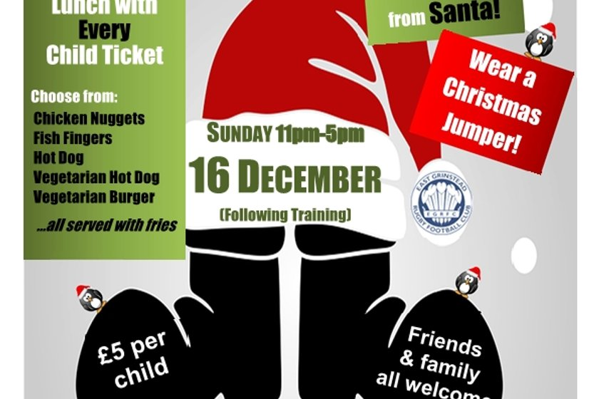 Last Call.....EGRFC Kids Xmas Party, Sunday 16th December 2018
