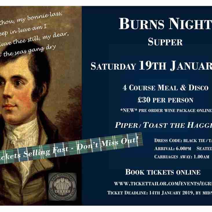 EGRFC Burns Night Supper - Saturday 19 January 2019