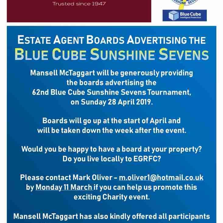 Blue Cube Sunshine Sevens Estate Agent Boards