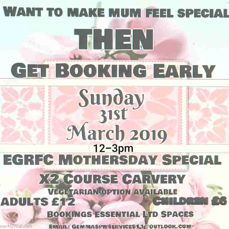 *** Cancelled *** EGRFC Mothers Day Lunch