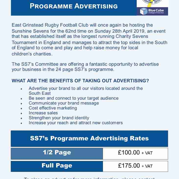 Blue Cube Security Sunshine Sevens - Programme Advertising Opportunity
