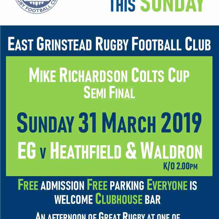 Massive EG Colts Sussex Semi Final this Sunday!
