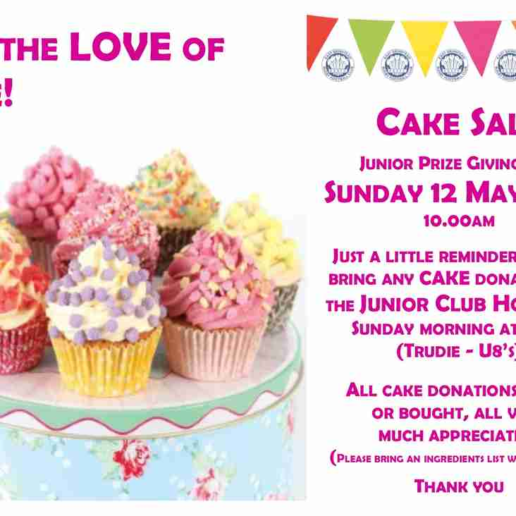 EGRFC Junior Prize Giving Cake Sale