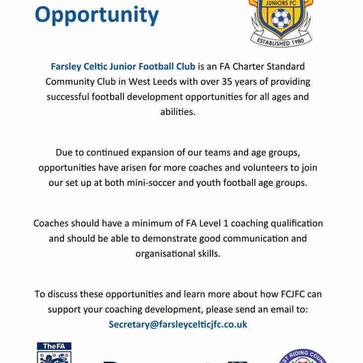 Farsley Celtic JFC Coaching Opportunity