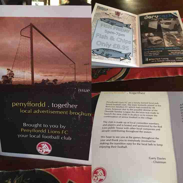 Penyffordd Lions sponsorship booklet