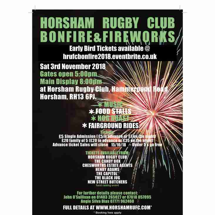 Horsham Rugby Club Bonfire & Fireworks