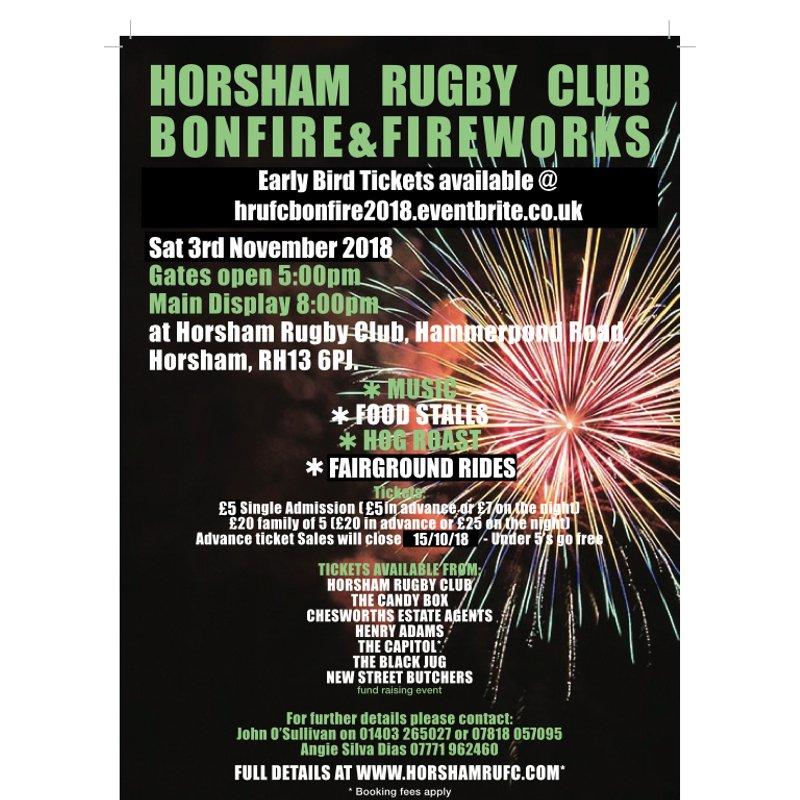 Horsham Rugby Club Bonfire & Fireworks