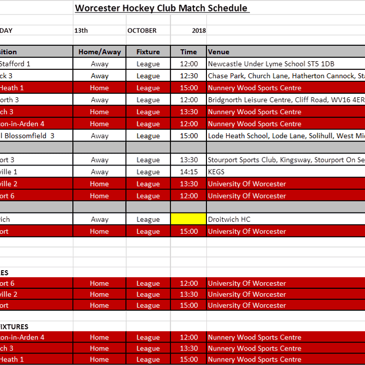 Fixtures for Sat 13th October 2016