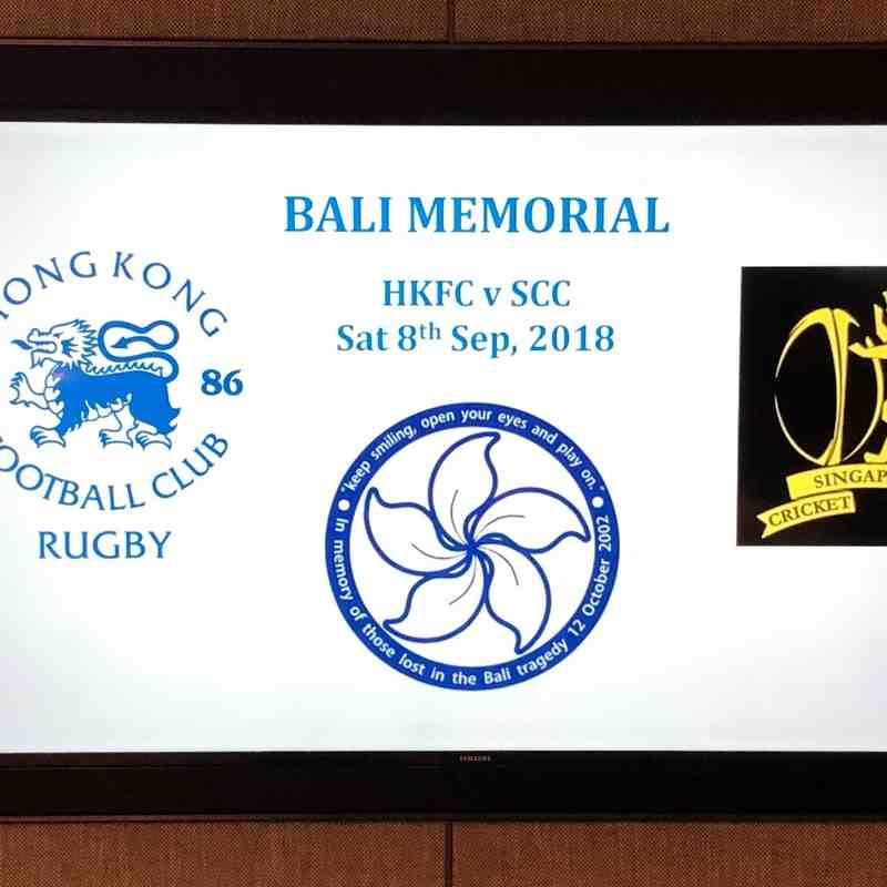 HKFC vs SCC 8th Sept 2018 Bali Memorial Fixture
