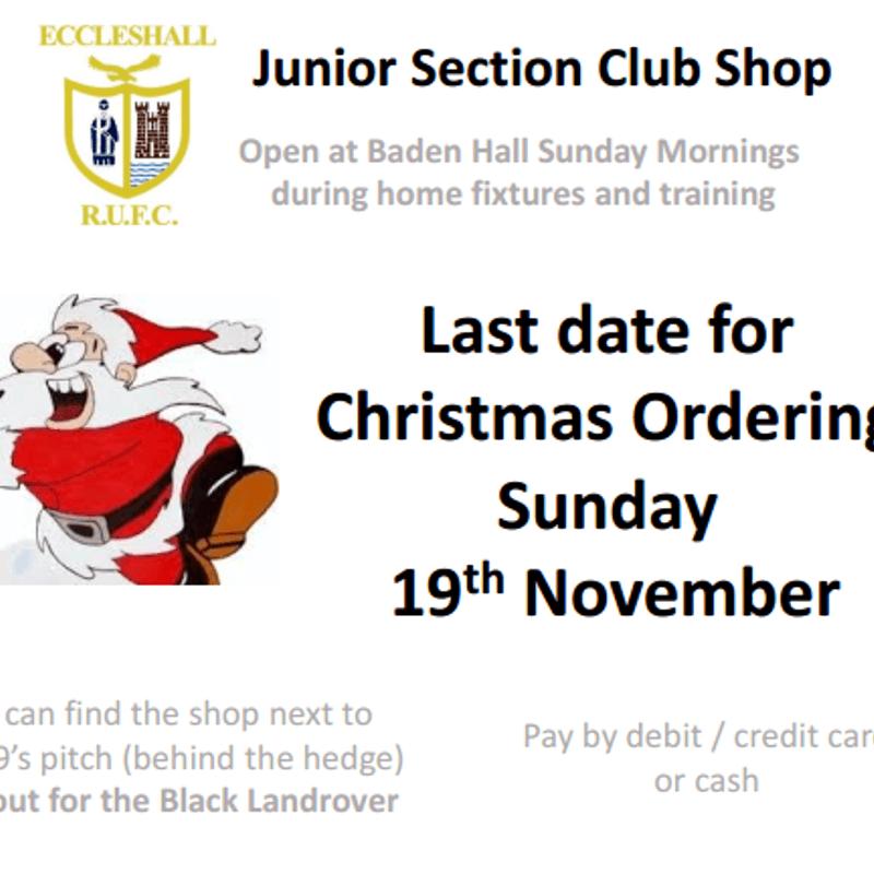 Club Shop Christmas Orders