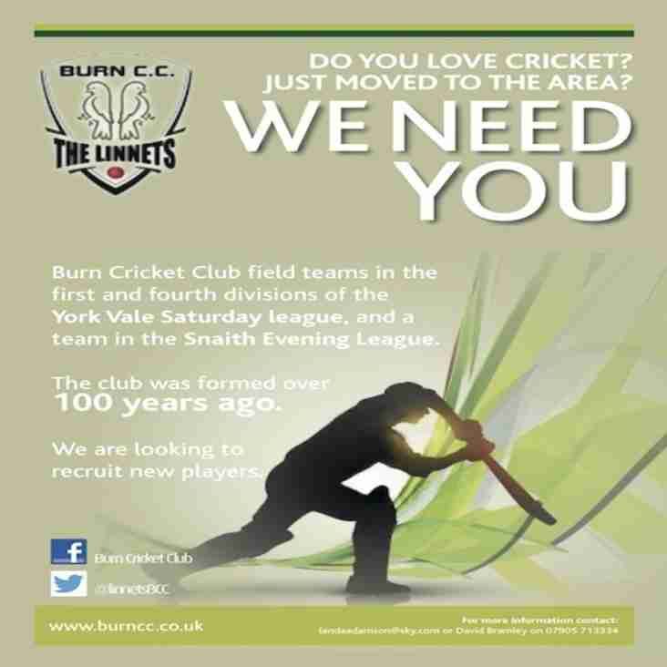 Burn CC new players required for 2015 season