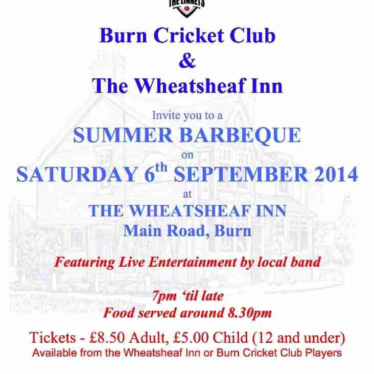 Burn CC BBQ Saturday 6 September 7pm