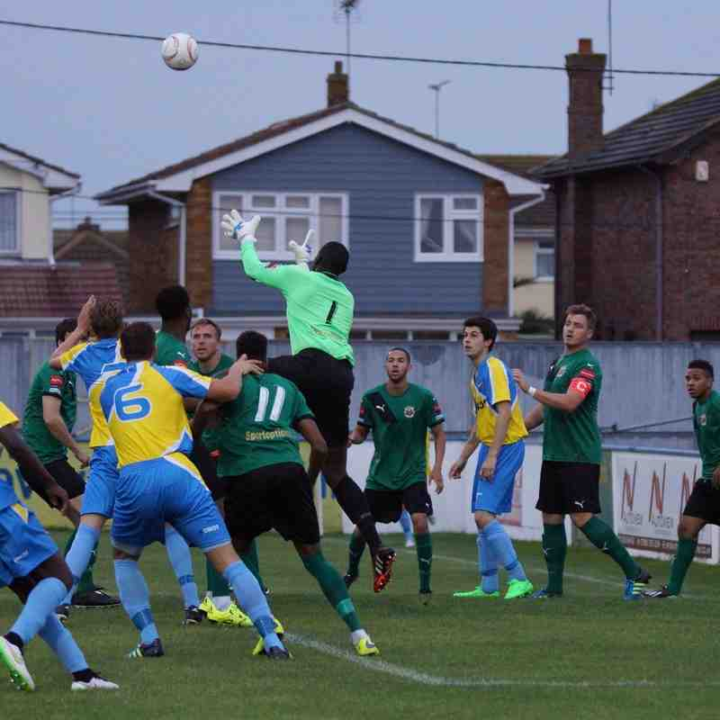 AWAY AT CANVEY(LEAGUE CUP) 18/8/15 WON 3-1 ON PENS-FT. SCORE 2-2.