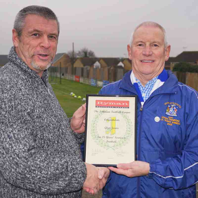 25 YEARS SERVICE TO ISTHMIAN LEAGUE FOOTBALL--GLYN JARVIS,