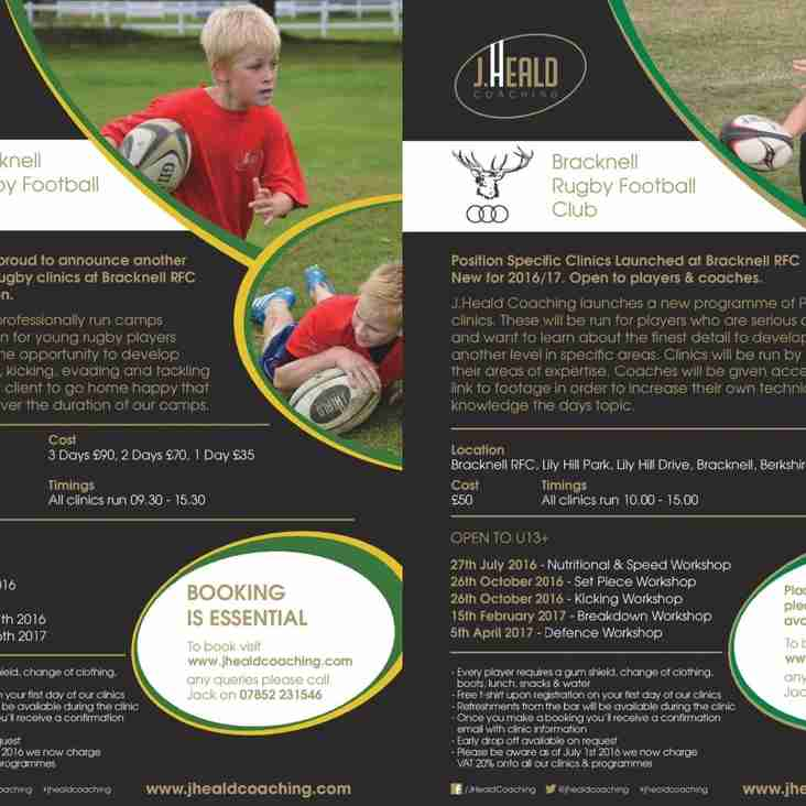 J Heald Coaching clinics for October half term