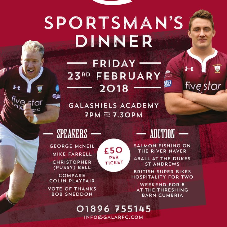 SPORTSMAN&#039;S DINNER 23rd FEB 2018<
